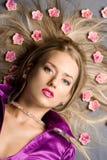 Lying beautiful woman Royalty Free Stock Photo