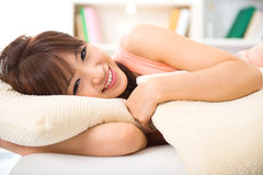 Lying on bed Royalty Free Stock Images
