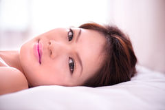 Lying on the bed Royalty Free Stock Photo
