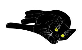 Lying black cat. Illustration of lying black cat with green eyes Royalty Free Stock Photos
