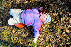 Lying a boy pumpkin Stock Image