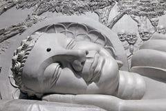 Lying Buddha Statue. Fragment. Royalty Free Stock Images
