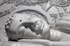 Lying Buddha statue. Fragment. Royalty Free Stock Images