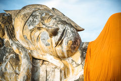 Lying Buddha statue at Wat Lokayasutharam, Ayutthaya, Thailand Stock Photography