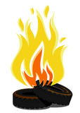 Lying burning tires. Vector illustration Royalty Free Stock Photos