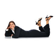Lying business woman Royalty Free Stock Photos