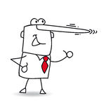 Lying. This businessman is lying. His nose is growing like pinocchio royalty free illustration