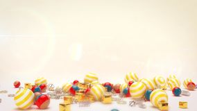 Lying Celebratory Striped Balls. A festive 3d rendering of lying colorful striped balls for giftes with golden spirals and cubes in the white background. All of Stock Photography