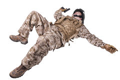 Lying dead soldier Royalty Free Stock Photography