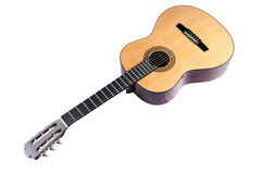 Lying diagonally classical guitar isolated on white Royalty Free Stock Photo