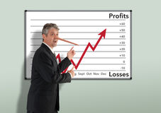 Lying dishonest businessman stockbroker w growing Pinocchio nose Royalty Free Stock Images