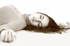 Lying down woman Royalty Free Stock Photography