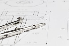 Lying drawing compasses Royalty Free Stock Images
