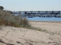 The port of Pornichet in France seen dunes stock photo