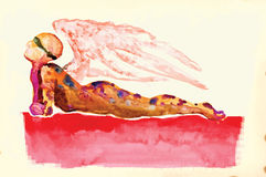 Lying figure - Water colors converted to vector Royalty Free Stock Image