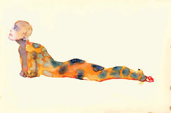 Lying figure - Water colors converted to vector Royalty Free Stock Photography
