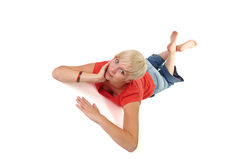 Lying flying woman Stock Images