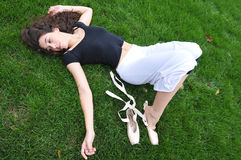 Lying in the garden Royalty Free Stock Photography
