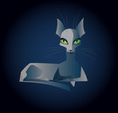 Lying ghost cat. Vector illustration of a thin semitransparent ghost cat with different colored eyes lying and staring straight. Square format, dark blue Stock Images