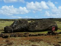 Lying giant statue of Moai, Easter Island royalty free stock photos