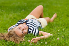 Lying girl Royalty Free Stock Photos