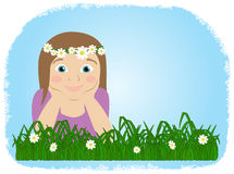 Lying girl on meadow, spring background Stock Image