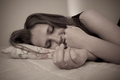 Lying Girl portrait Royalty Free Stock Images