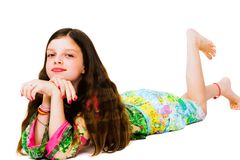 Lying girl posing Royalty Free Stock Image