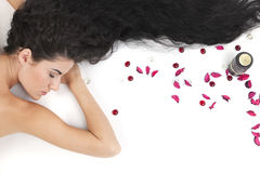 Lying girl in spa Royalty Free Stock Photo
