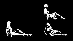3 lying girls. Animated silhouette. Alpha channel. 4K video. stock video
