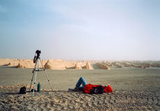Lying in gobi Stock Images