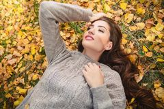 Lying on golden leaves stock photography