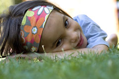 Lying on the grass Stock Photos
