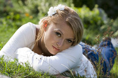 Lying in the grass Stock Photo