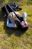 lying on the grass Stock Image