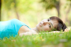 Lying on grass Royalty Free Stock Photography