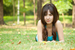 Lying on grass Stock Photography
