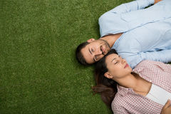 Lying on the grass royalty free stock photos