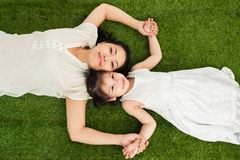 Lying on grass royalty free stock image