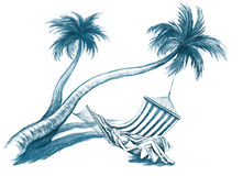 Lying on the hammock. Beautiful young woman lying on the hammock under the palm trees Stock Photo