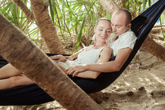 Lying in a hammock Stock Photography