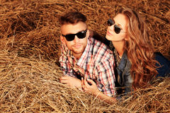 Lying in haystack Stock Image