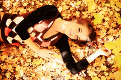 Lying on a leafage Royalty Free Stock Image