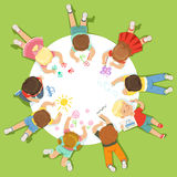 Lying little children painting on a big round paper. Cartoon detailed colorful Illustration royalty free illustration