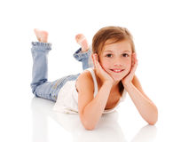 Lying little girl Royalty Free Stock Photo