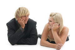 Lying man and woman. Stock Photos