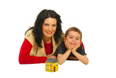 Lying mother  and son Stock Photo