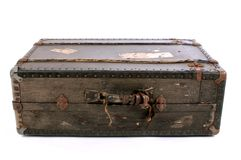 Lying old suit-case royalty free stock photography