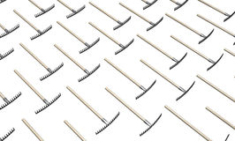 Lying Rakes. Metal rake garden tools two crossed 3d illustration, isolated, horizontal, over white Royalty Free Stock Photography