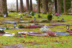 Lying red granite headstones Royalty Free Stock Images